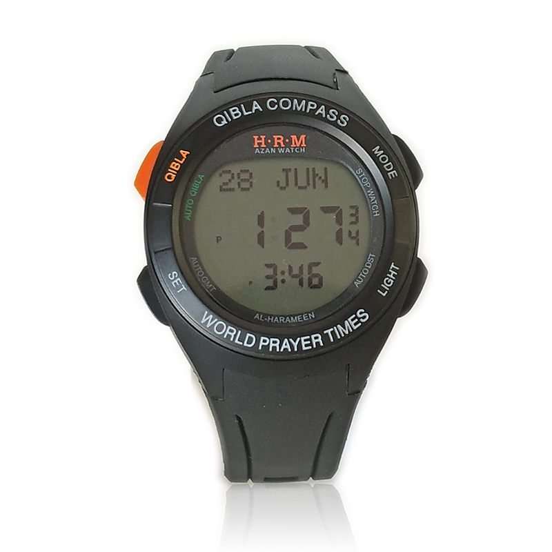 Automatic Qibla Watch with Two Cities Time 6507 Azan Watch with Shuroq Time Moon age Pray Watch with Hijri and Stopwatch