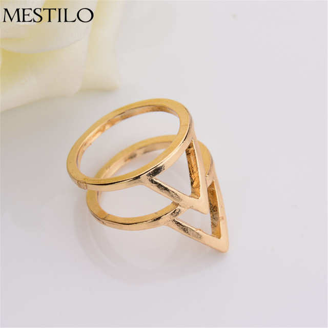 936709e0cfce4 US $2.3  2017 New Elegant Jewelry Simple Exquisite Gold Plated Rings Double  Layer Triangle Geometry Ring Punk Rock Jewelry For Women Gift-in Rings ...