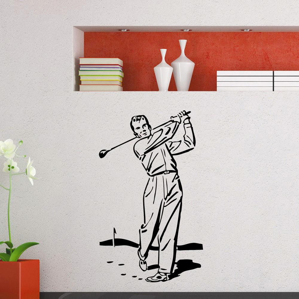 Wall Art Mural Gym Sport Golf Player Wall Sticker Vinyl Golf Sports Poster Gym Decoration Golf Place Design Wall Decal AY692