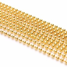 LOULEUR 10 Meter/lot 1.2 1.5 2 3.2 mm Gold Color Metal Ball Beads Chains Bulk for Diy Bracelet Necklace Jewelry Making Findings