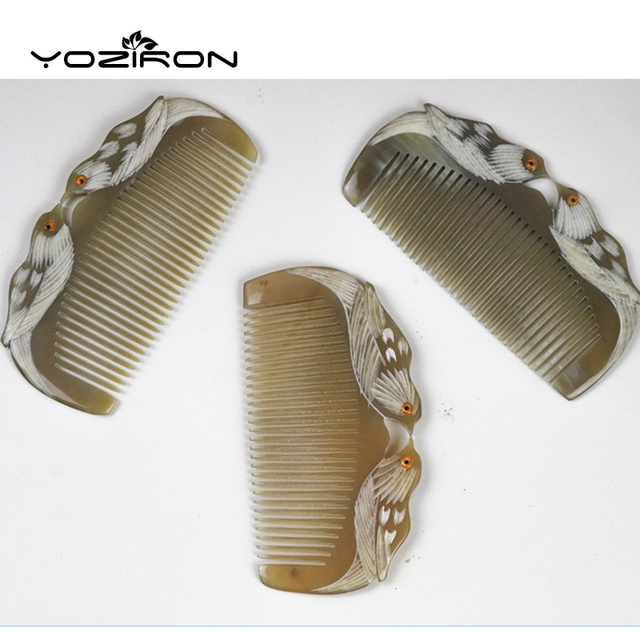 lover birds design Natural Buffalo horn Comb Wide Tooth No-static head Massage Hair Brush Health care Hair Styling combs P044