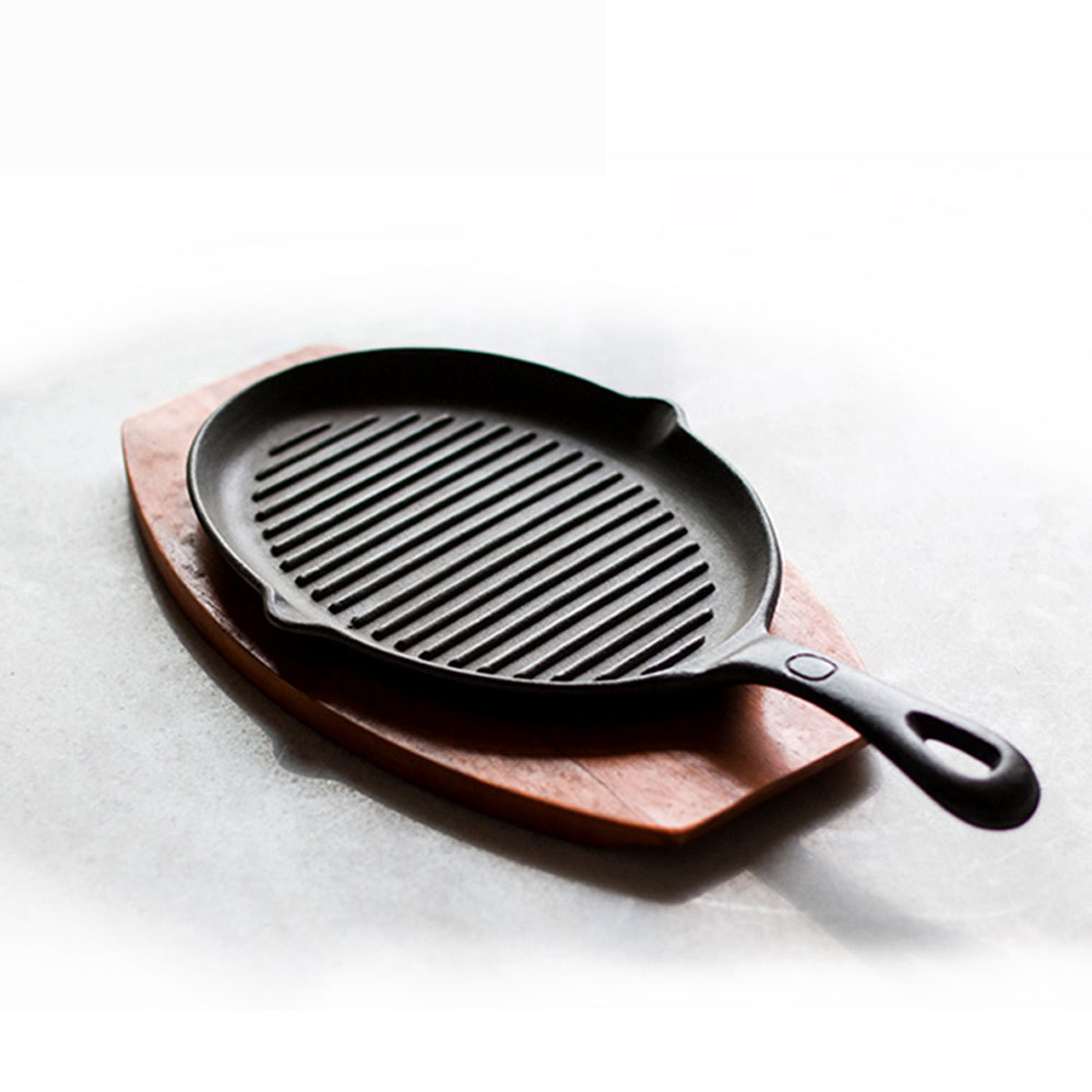 Grill Frying Pan Us 113 74 Durable Cooing Tools Egg Frying Pan Pot Grill Non Stick Cast Iron Oval Roasting Pans Bacon Pot Grills W Handle Wood Pat In Pans From Home