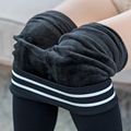 White Stripe Cotton Leggings Women Fashion Winter Warm Thick Slim Leggings Elastic High Waist Trousers Women's Velvet Pants CK26