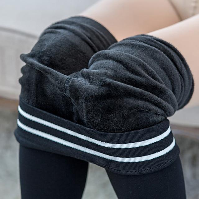 White Stripe Cotton Leggings Women Fashion Winter Warm Thick Slim Leggings Elastic High Waist Trousers Women's Velvet Pants CK26