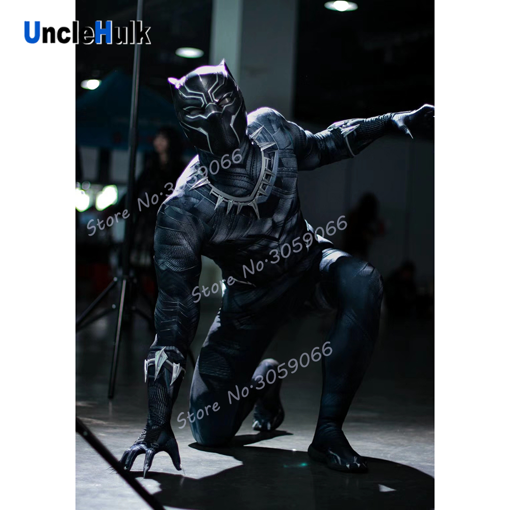 Black Panther Lycra Spandex Zentai Suit Cosplay Costume without helmet UncleHulk