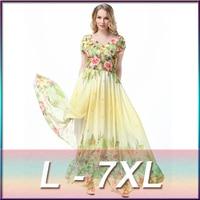 2016 New Style Summer Chiffon Dress Women Sexy V Neck Long Dress European Printed Maxi Bohemian