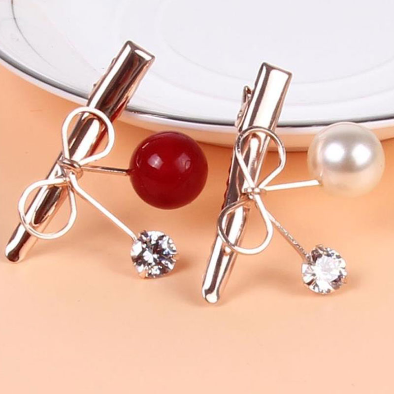 M MISM Girl Lovely Cherry Hair Clips Perfect Quality Silver Metal Hair Accessories for Women Pearls Hairgrip Rhinestone Hairpins new bohemia hairgrip retro hair clasp alloy elegant oval hair pins hair sticks combs for women hair accessories
