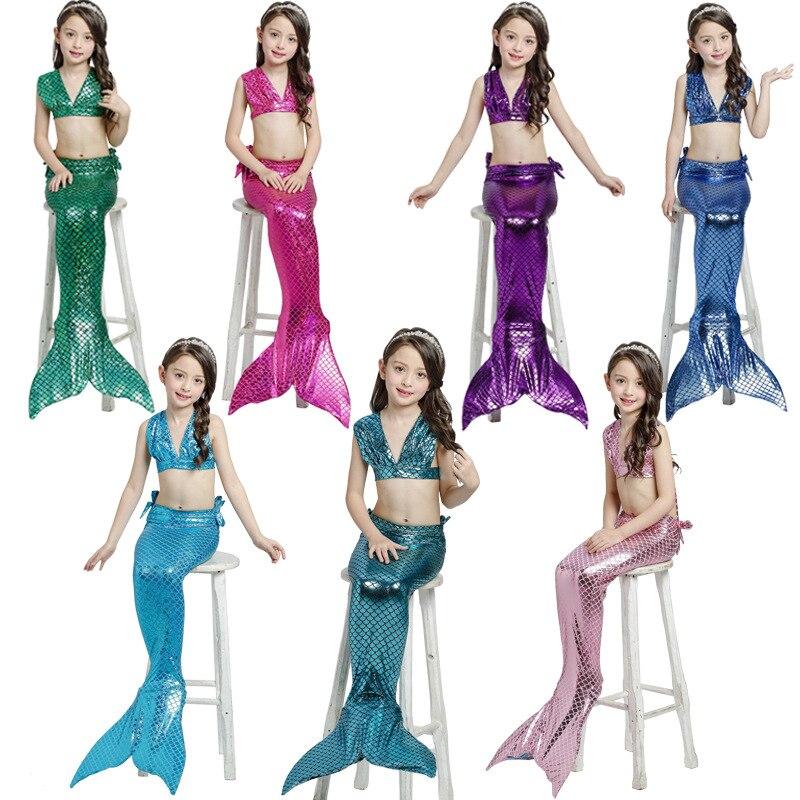 DHL/EMS Free shipping 2017 New Kids Baby Girl Mermaid Swimsuit Tankini Bikini Set Summer Children Swimwear Bathing Suit