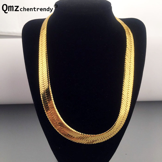 High quality 75CM*10MM Hip Hop Mens Herringbone Chain Golden Necklace Rapper Chunky Chain Boys Rapper NightClub DJ Jewelry