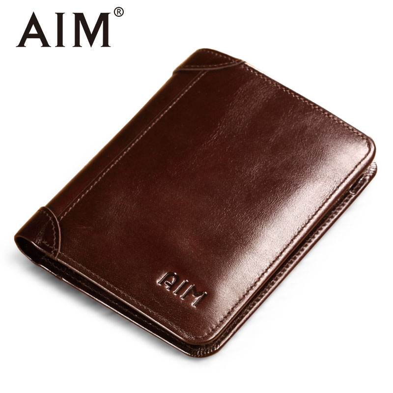 AIM Hot Sale Genuine Leather Wallet Men Oil Wax Trifold Purse Man Famous Brand Design Short Wallets Vintage Coin Card Holder Men