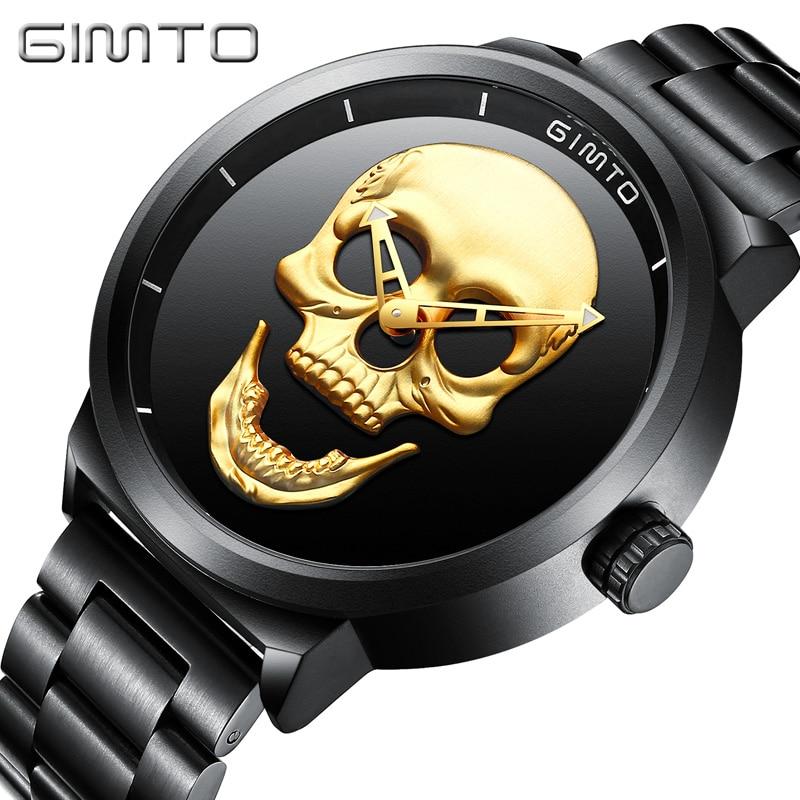 GIMTO marque Vintage or noir crâne montre en acier complet étanche horloge décontracté militaire Quartz montres Sport Relogio Masculino