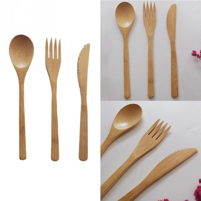 3pcs/set Outdoor Tableware Picnic Traveling Hiking Camping Cutlery Utensils Portable Dinnerware Bamboo Knife Fork Spoon Set