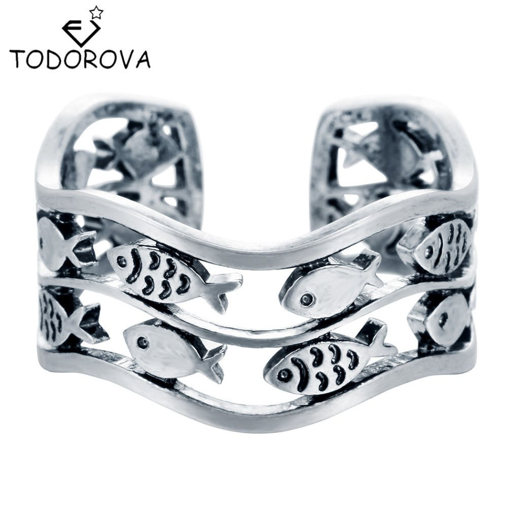 Todorova Real 925 Sterling Silver Fish Rings for Women Adjustable Wedding Ring Fashion Sterling silver jewelry