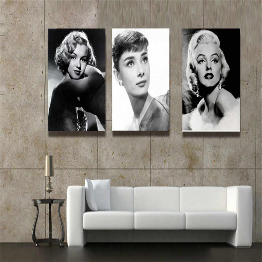 3 لوحات غرفة المعيشة جدار الصور مثير مارلين مونرو اللوحة الزخرفية غرفة المعيشة جدار الطباعة قماش الطلاء