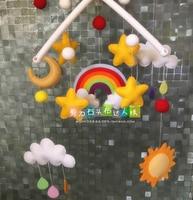 DIY rainbow star moon baby bed bell Fabric Felt kit Non woven cloth Craft DIY Sewing set Handwork Material DIY needlework suppl