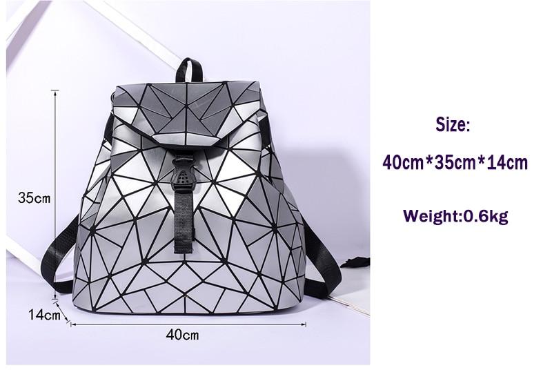 Moda feminina cordão mochila geométrica feminina mochilas