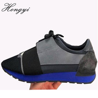 Hongyi New Lovers Casual Shoes Man Breathable Mesh Patched Mixed Colors Lace up Cut Race Trainer Runner Shoes Big size 46