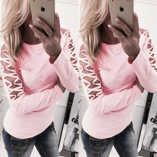 Women Hollow out Long Sleeve Casual T shirt 2018 Summer Lace up Tee Cotton tshirt women clothes poleras de mujer