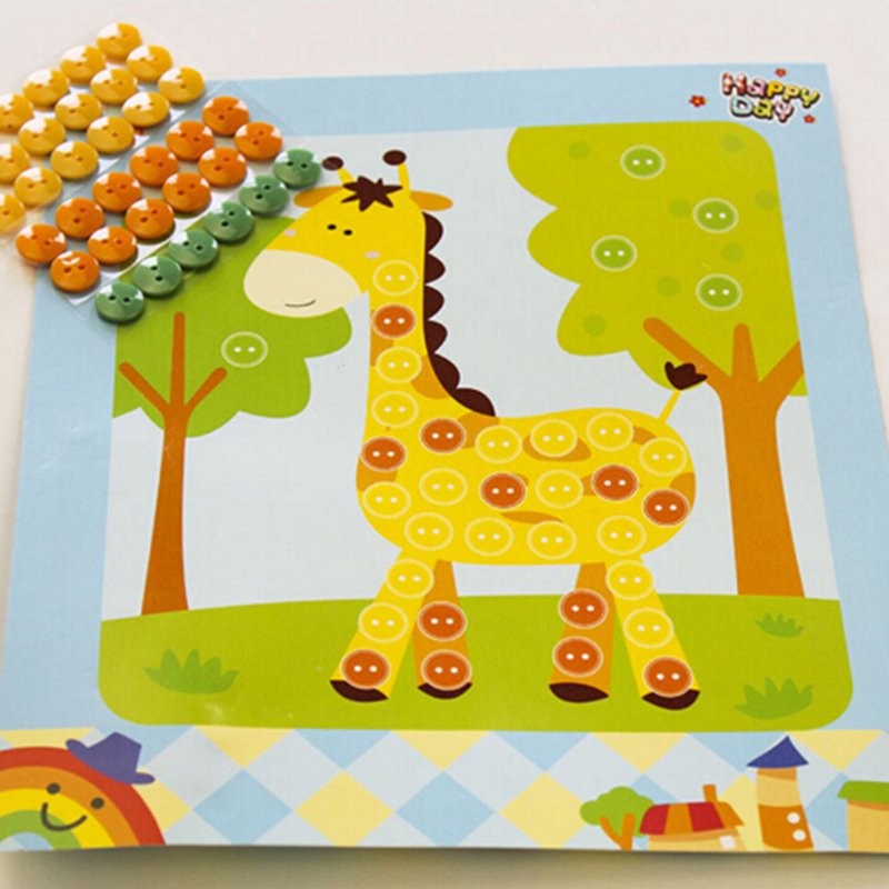 1pc Button Puzzle Stickers Handmade Kids DIY Toys Children Craft Toys Gift Random