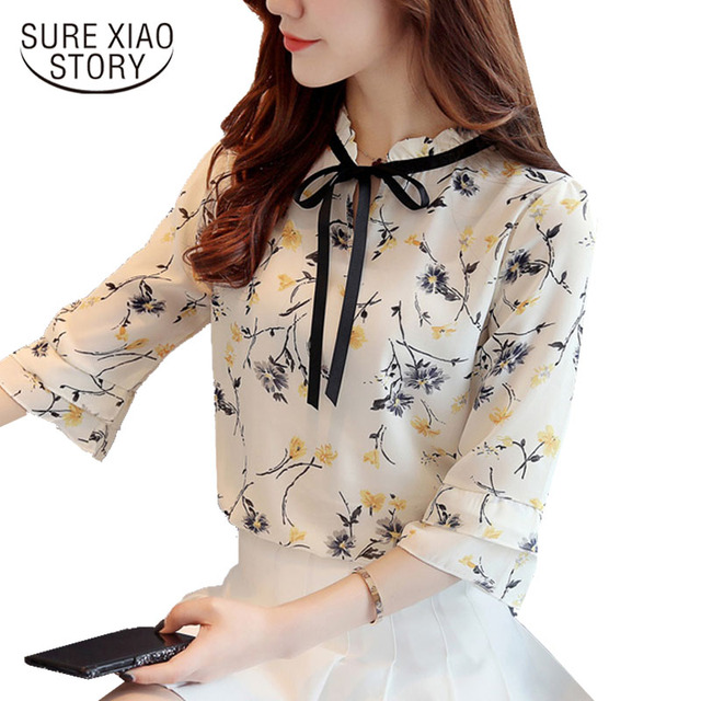 2018 new spring women tops chiffon blouses floral bow long sleeved blouses casual sweet fashion v-neck female shirts d363 25