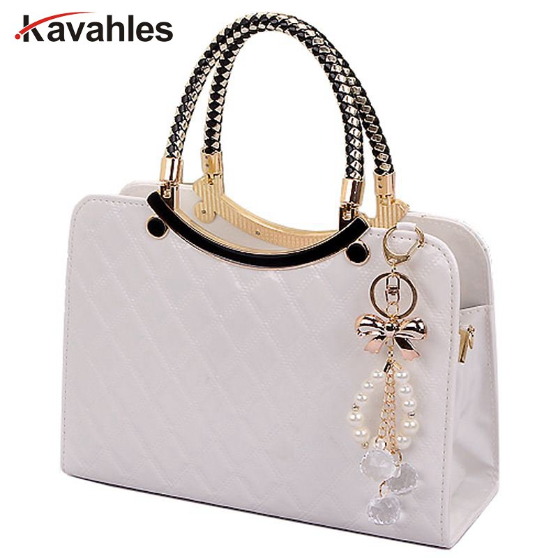 brand bag cute tote 2018 New Fashion Designer Large PU Leather Tote Shoulder Bag Handbag Ladies Messenger chain plaid A40-375