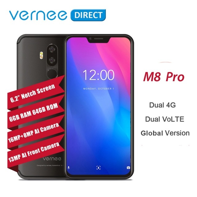 "Vernee M8 Pro 6.2"" Notch Screen 6GB RAM 64GB Smartphone Android 8.1 Dual 4G AI Dual Camera Wireless Fast Charging Cell Phone"