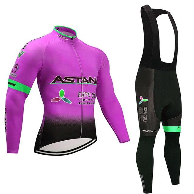 Primavera outono 2018 da equipe astana manga longa conjunto camisa de ciclismo Ropa ciclismo respirável roupas de corrida de bicicleta MTB Bicicleta 19D gel pad 4