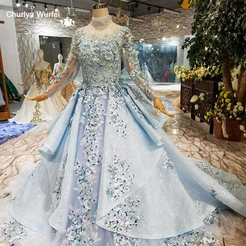 LS320400G Blue Special Dubai Puffy Party Dresses High Neck Long Tulle Sleeve Lace Up Back Evening Dresses Can Make For Muslim