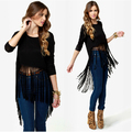 Fashion BLACK Women Cotton T-shirt With Long tassel o neck Female crop tops 2014 Fringe 3/4 SLEEVE ONE PIECE SALE HOT BRAND
