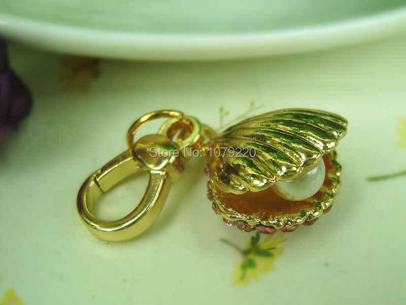 ไข่มุกเปลือกหอยขนาดเล็กพวงกุญแจแฟชั่นเครื่องประดับผู้หญิงแหวนกุญแจคริสตัล Rhinestone Charm กุญแจจี้ของขวัญ moda 2015