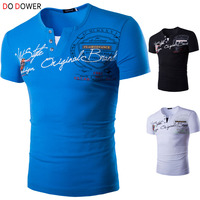Do Dower brand men summer fashion t shirt men's slim casual letters printed short-sleeved button V-neck T-shirt plus size XXL