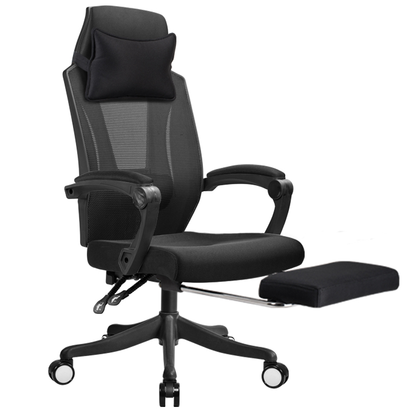 Leisure Mesh Cloth Computer Chair Lifted Rotated Multi-function Office Household Reclining with Footrest