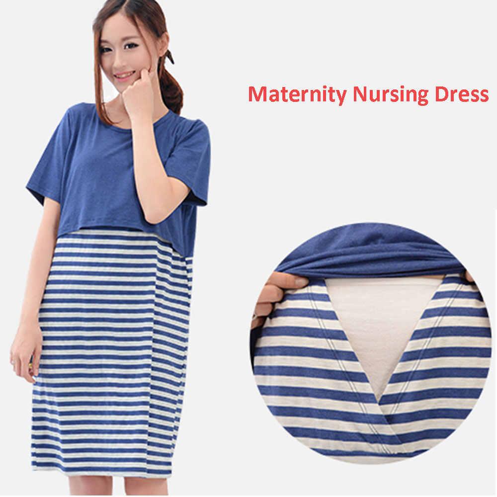 b271cd763f76 Платье для беременных и кормящих мам, платья из хлопка в полоску, одежда  для грудного