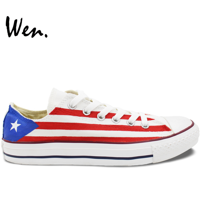 Wen Custom Design White Low Top Shoes Hand Painted Puerto Rico Flag Athletic Lace Up Sneakers for Gifts