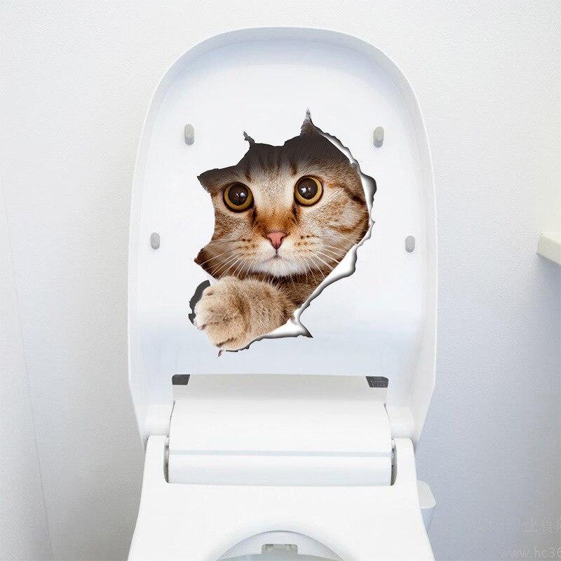 3D отверстие кошачий Туалет наклейки самоклеящиеся фантазии холодильник декоративные наклейки смешно мебели DIY Фреска на мебель для Кабине...