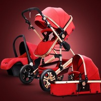 Dongzhur 3 in 1 certification baby stroller for Baby Carriage 0 3 years Multi color choices Natural Rubber Four Wheel Stroller