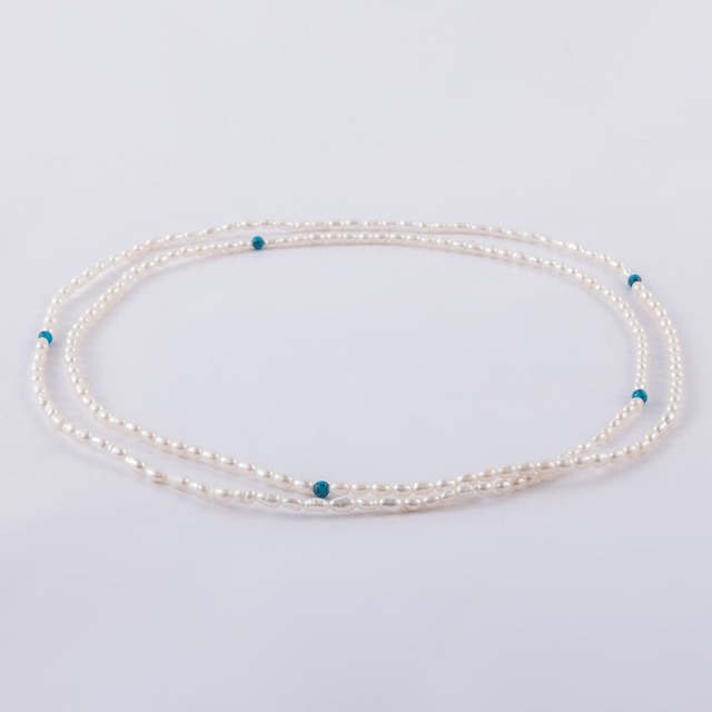 New Style Delicate Jewelry Mini Baroque Pearl with Blue Stones Necklace Elegant Women Jewelry Accessory Wedding Anniversary Gift