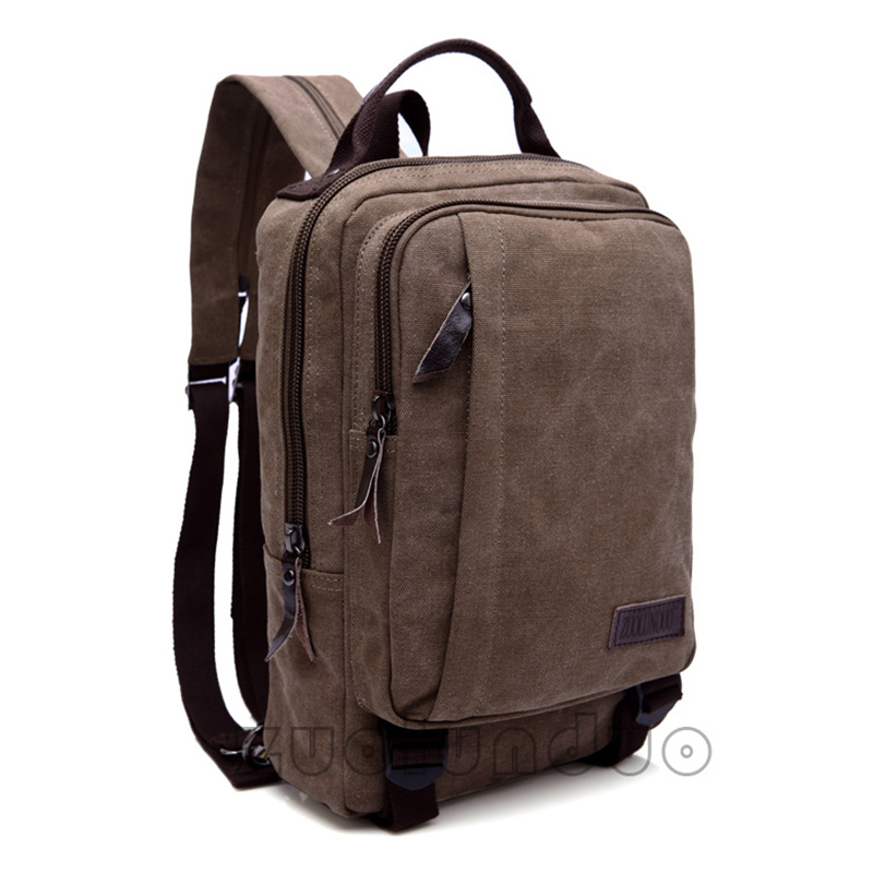 Backpack Men's Square Style Double Shoulder Bag Package Canvas High Quality Pack Practical Wear-Resistant Waterproof Small Size