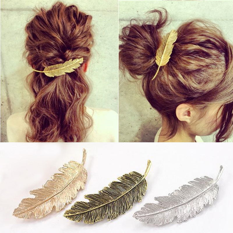 Vintage Feather Hair Clip Metal Leaf Fashion Girl Hairpin Barrette Headwear Hair Pins Accessories Styling Braiding Tools CW29 in Hair Clips Pins from Beauty Health