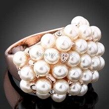 Новинка,, роскошные розовые/белые сплав золотого цвета, Полностью украшенные жемчужинами, свадебные кольца для женщин