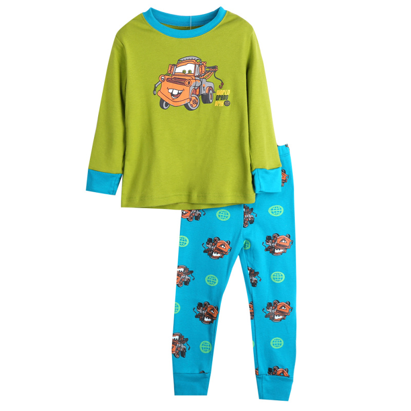 2pcs/set Kids Pajamas Cartoon Car Printed Boys Girls  Long Sleeve Tops And Pants Sleepwear Nightwear Pajama Set Outfts