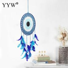Dream Catcher Scandinavian Style Blue Feather Hunter Substance Ornaments Lace Dreamcatcher Nordic Girls Room Decoration Crafts