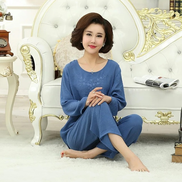 Blue Women Embroidery Pajamas Set Full Sleeve Shirt&Pant Pajama Suit Cotton 2PCS Sleepwear Autumn Nightwear Bath Gown M-XXL