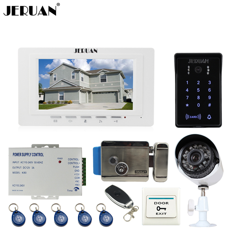JERUAN unique 7`` video door phone intercom System monitor waterproof Touch Key password keypad Camera+700TVL Analog Camera+lock jeruan 8 inch tft video door phone record intercom system new rfid waterproof touch key password keypad camera 8g sd card e lock