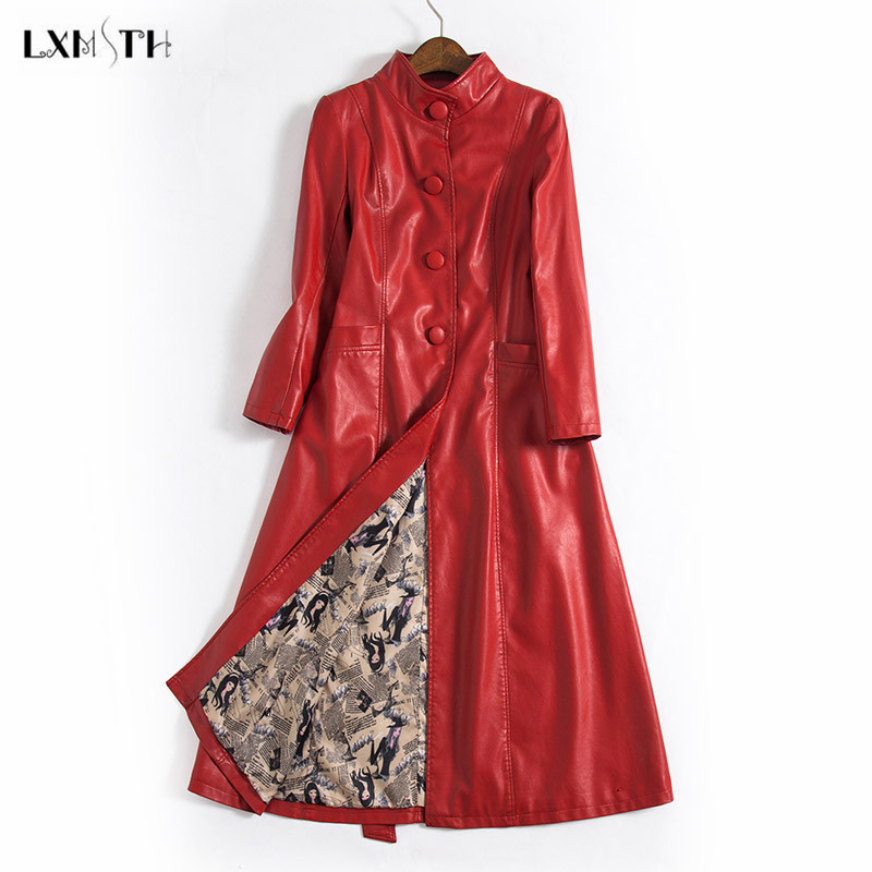 LXMSTH M-5XL  Autumn Winter X-Long Leather Coat Women Fashion Belted Slim Ladies Leather Jackets Woman Trench Coats Plus Size