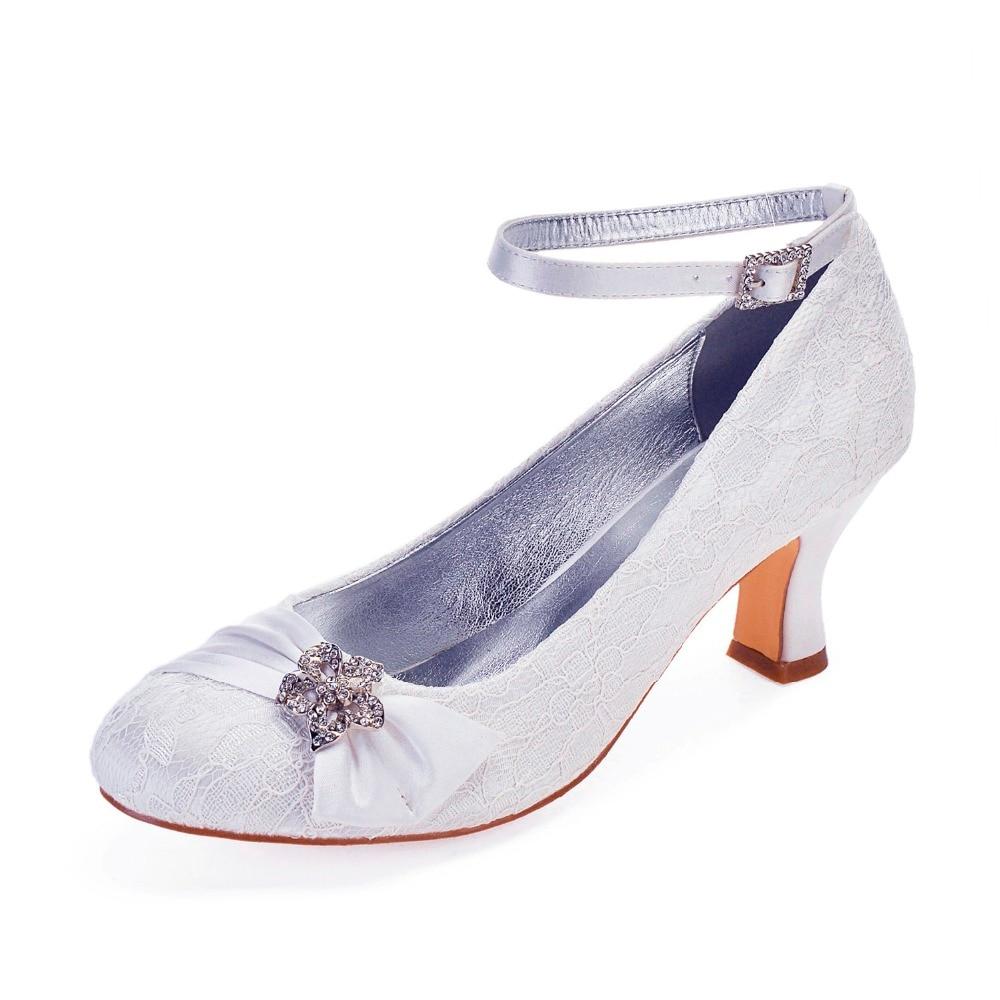 White lace bridal shoes block heel