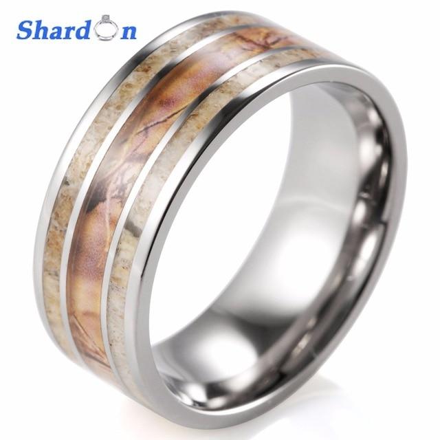 Mens Camo Wedding Rings | Shardon Unique Men S Camo Wedding Band With Real Antler Titanium
