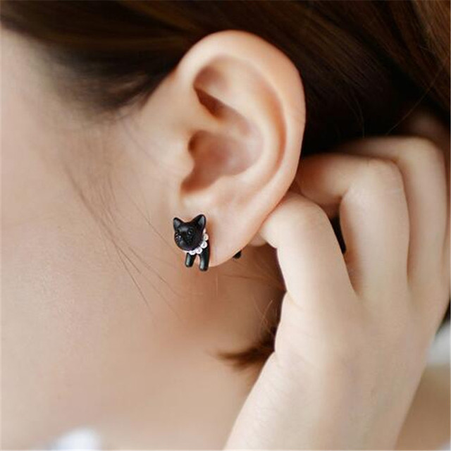 1 Piece !! Three-dimensional Animal Leopard Cat Pearl Stud Earrings 4ED124