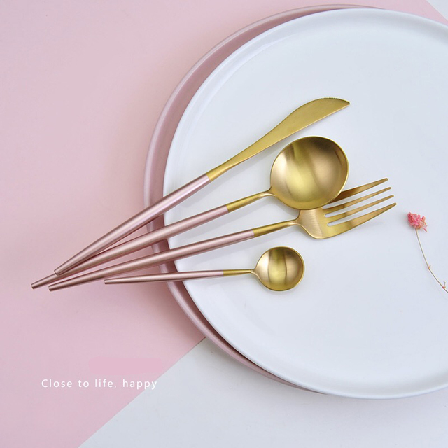 Stainless Steel Flatware Pink Gold Set