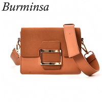 Burminsa Brand Winter Suede Shoulder Bags Ladies Small Wide Strap Designer Clutch Hand Bags Female Crossbody
